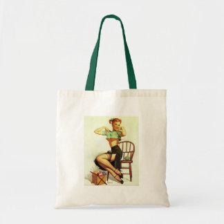 Vintage retro Gil Elvgren Knitting Pin Up Girl Bag