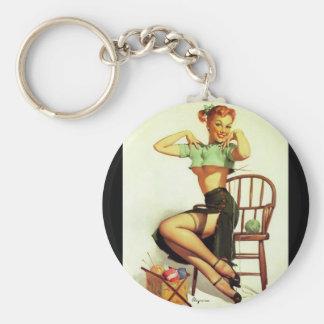 Vintage retro Gil Elvgren Knitting Pin Up Girl Key Chain