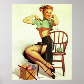 Vintage retro Gil Elvgren Knitting Pin Up Girl Poster