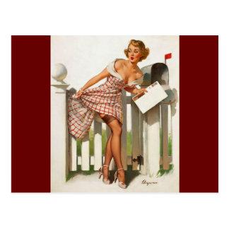Vintage Retro Gil Elvgren Mail Box Pinup Girl Postcard
