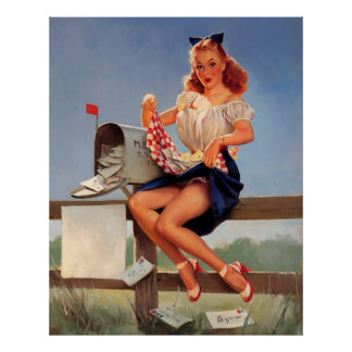 Vintage Retro Gil Elvgren Mail Box Pinup Girl Poster