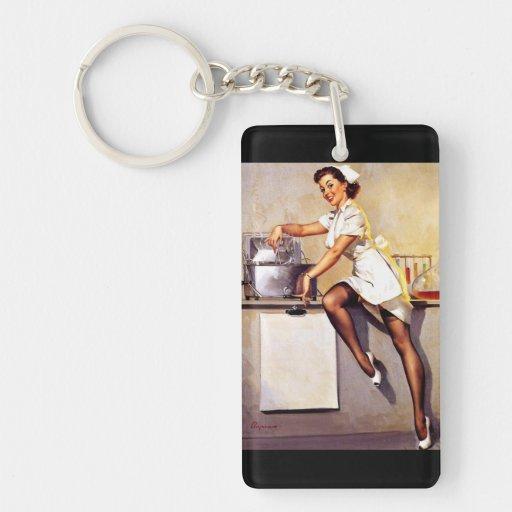 Vintage Retro Gil Elvgren Nurse Pin Up Girl Rectangle Acrylic Keychains