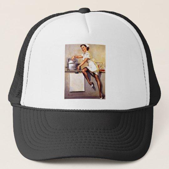 Vintage Retro Gil Elvgren Nurse Pin Up Girl Trucker Hat
