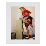 Vintage Retro Gil Elvgren Office Pinup Girl Poster