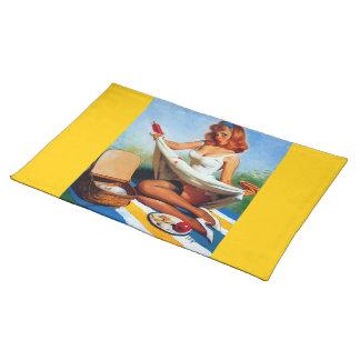 Vintage Retro Gil Elvgren Picnic Pin Up Girl Placemat