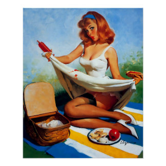 Vintage Retro Gil Elvgren Picnic Pin Up Girl Poster