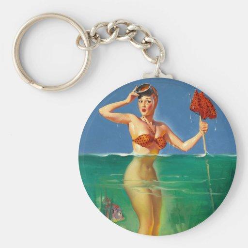 Vintage Retro Gil Elvgren Scuba Diver Pin Up Girl Key Chain