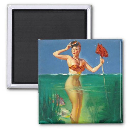 Vintage Retro Gil Elvgren Scuba Diver Pin Up Girl Fridge Magnets