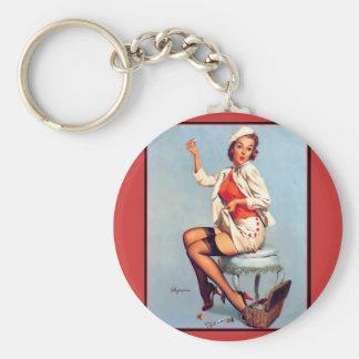 Vintage Retro Gil Elvgren Sewing Pin UP Girl Key Chain