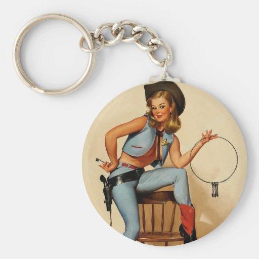 Vintage Retro Gil Elvgren Sheriff Pin Up Girl Key Chains