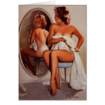 Vintage Retro Gil Elvgren Sun Tan Pinup girl Stationery Note Card
