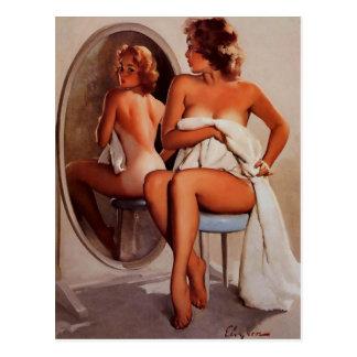 Vintage Retro Gil Elvgren Sun Tan Pinup girl Postcard