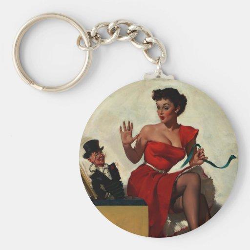 Vintage Retro Gil Elvgren Surprise  Pin Up Girl Key Chains