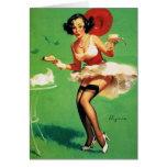 Vintage Retro Gil Elvgren Tea Time Pinup Girl Greeting Cards