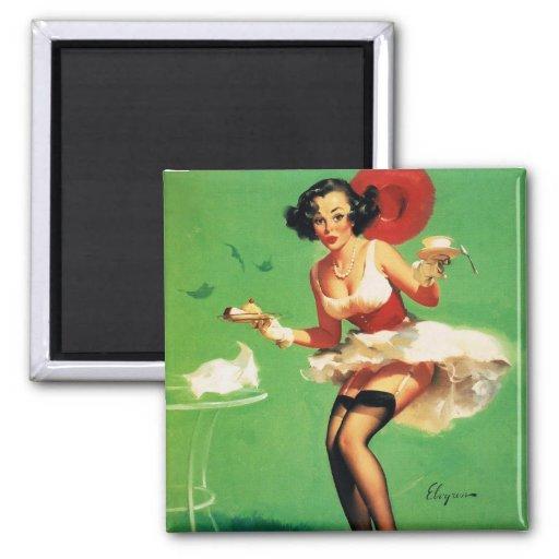 Vintage Retro Gil Elvgren Tea Time Pinup Girl Fridge Magnet
