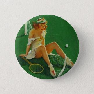 Vintage Retro Gil Elvgren Tennis Pinup Girl 6 Cm Round Badge