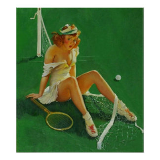 Vintage Retro Gil Elvgren Tennis Pinup Girl Print