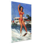 Vintage Retro Gil Elvgren Water Ski pinup girl Stretched Canvas Print