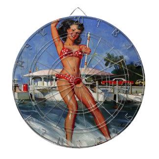Vintage Retro Gil Elvgren Water Ski pinup girl Dartboard