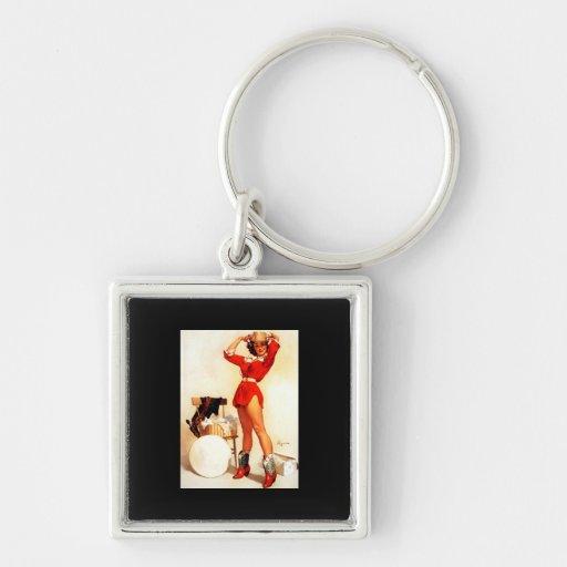 Vintage Retro Gil Elvgren Western Pin UP Girl Keychain