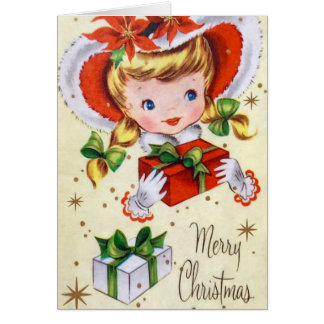 Vintage retro girl add message Christmas card