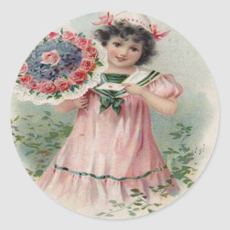 Vintage Retro Girl Bouquet Valentine Card Classic Round Sticker