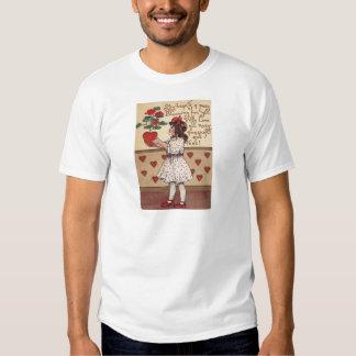 Vintage Retro Girl Heart Plant Valentine Card T Shirts