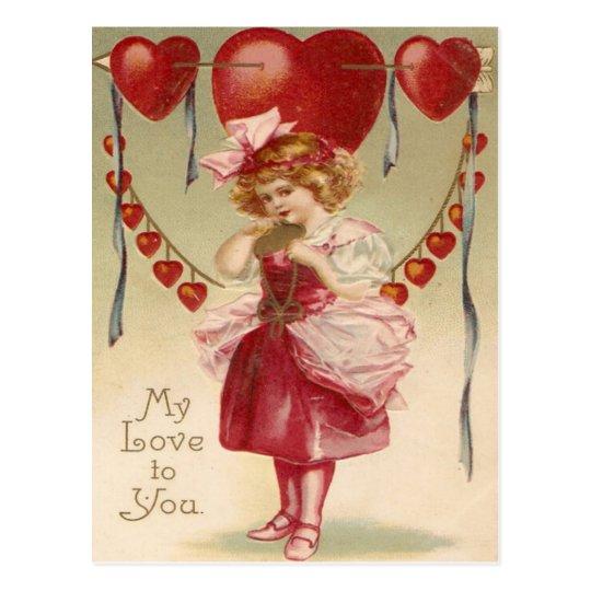 Vintage Retro Girl Hearts Arrows Valentine Card