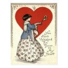 Vintage Retro Girl Key To Heart Valentine Card