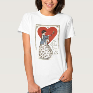 Vintage Retro Girl Key To Heart Valentine Card Tee Shirt