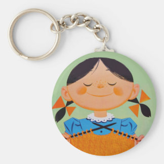 Vintage Retro Girl Knitting Key Ring
