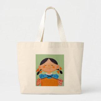 Vintage Retro Girl Knitting Large Tote Bag