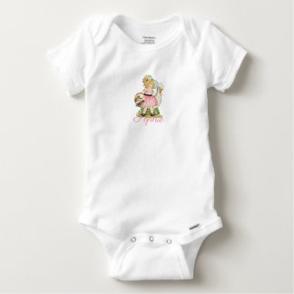 Vintage/Retro Girl with a Goose Personnalised Baby Onesie
