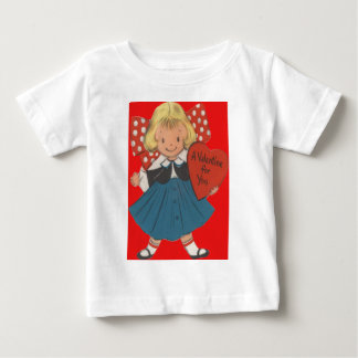 Vintage Retro Girl With Heart Valentine Card T-shirts