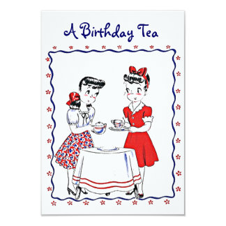 Vintage Retro Girls Hosting A Tea Party Invitation