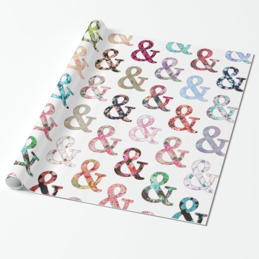 Vintage Retro Girly Floral Ampersand Pattern Gift Wrap Paper