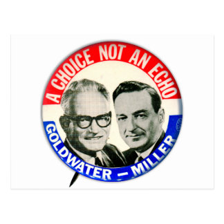 Vintage Retro Goldwater Miller Election Button Post Card