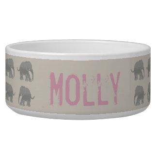 Vintage Retro Gray and Pink Pet Name Elephants Dog Food Bowl