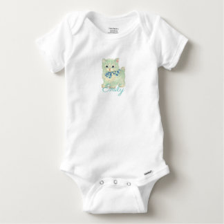 Vintage/Retro Green Kitten Personnalised Baby Onesie