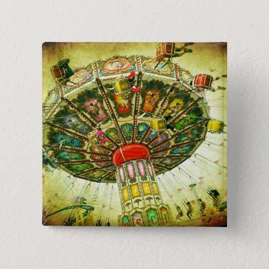 Vintage retro green sky carnival swing ride photo 15 cm square badge