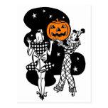 Vintage Retro Halloween Pumpkin Post Card