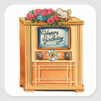 Vintage Retro Happy Birthday TV Television Set Square Sticker