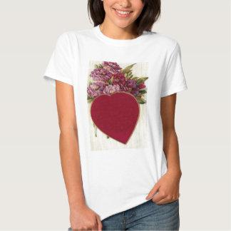 Vintage Retro Heart With Chrysanthemums Valentine Shirts