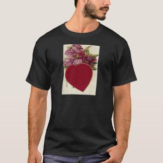 Vintage Retro Heart With Chrysanthemums Valentine T-Shirt