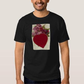 Vintage Retro Heart With Chrysanthemums Valentine Tshirts
