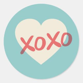 Vintage Retro Heart XOXO Valentine's Day Sticker Round Sticker
