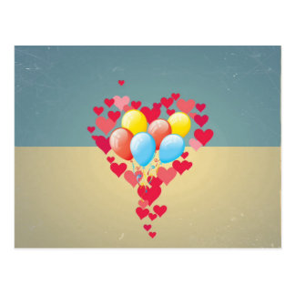 Vintage Retro Hearts Balloons Turquoise Blue Cream Postcard