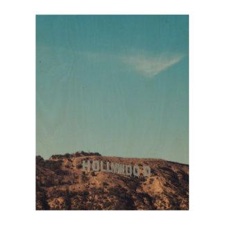 Vintage Retro Hollywood Sign Los Angeles CA Art Wood Prints