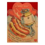 Vintage Retro Hot Dog Mustard Valentine Card Postcard