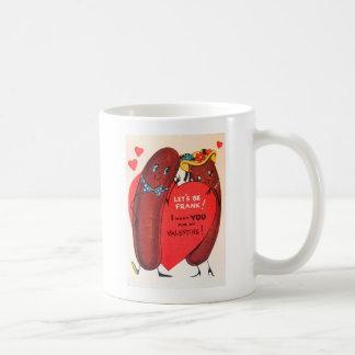 Vintage Retro Hot Dog Valentine Basic White Mug